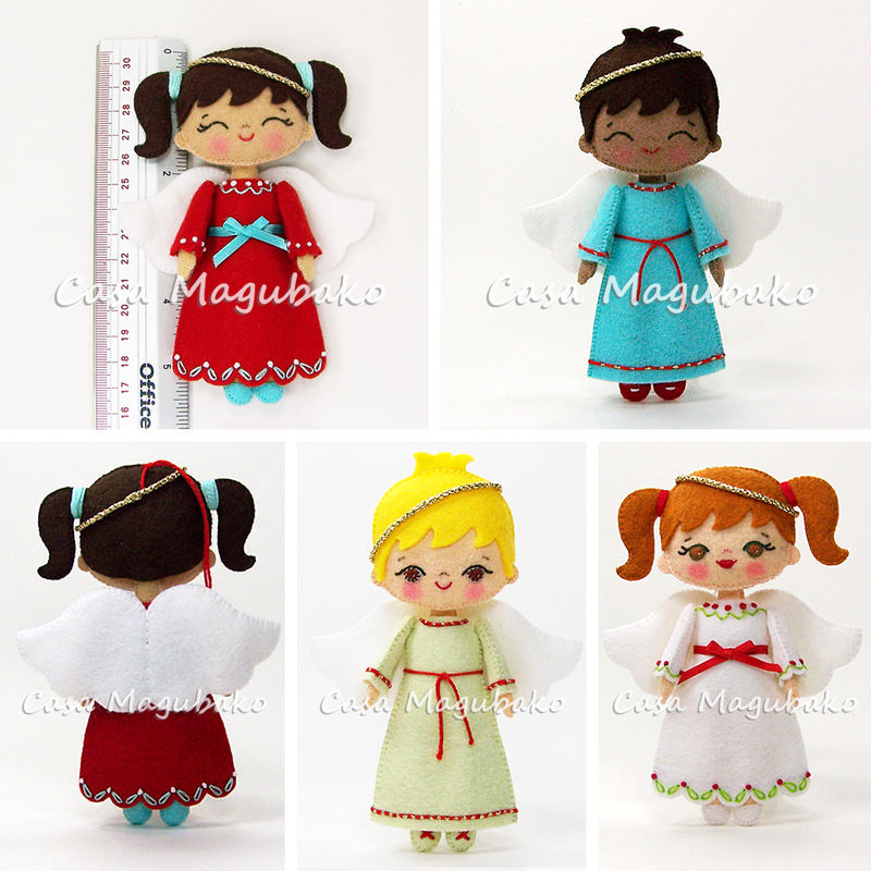 Angel Doll Ornament Digital Pattern – Hand Stitched Felt Ornament - PDF File  - product images  of