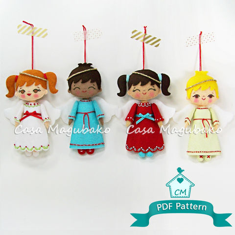 Angel,Doll,Ornament,Digital,Pattern,–,Hand,Stitched,Felt,-,PDF,File,angel ornament, angel digital tutorial, angel sewing pattern, sewing digital pattern, angel girl tutorial, boy angel pattern, Christmas ornament pattern, PDF File, sewing instructions, hand-stitched felt, hand-stitching DIY, stitched angel, angel en fielt