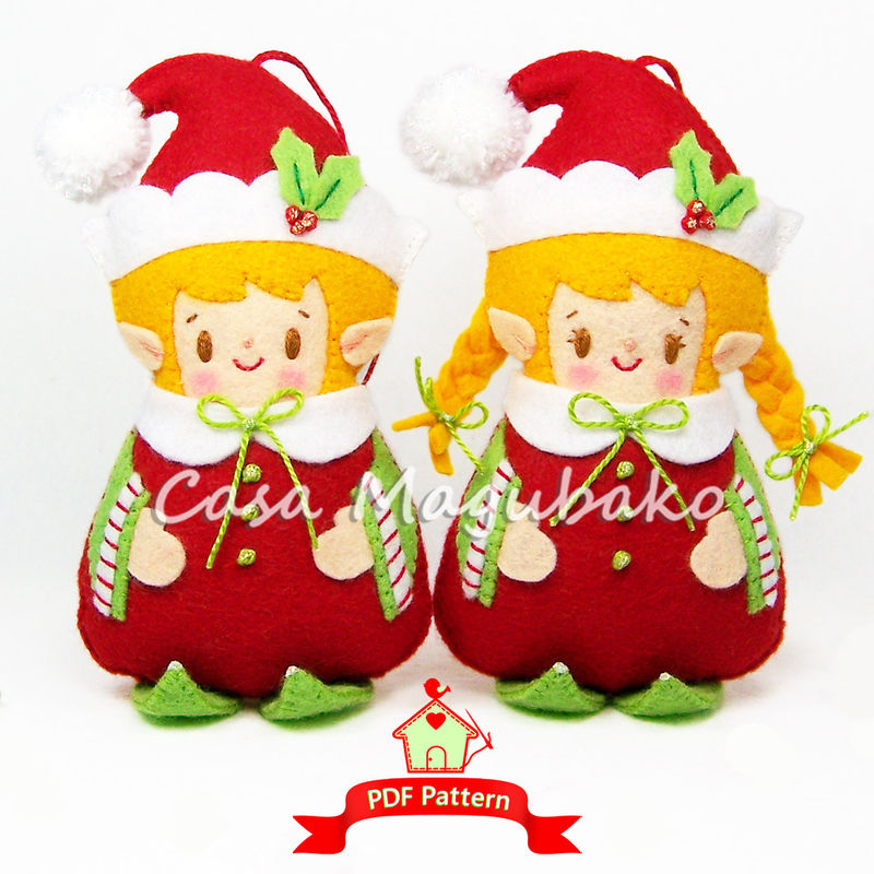 Felt Elf Ornaments - Sewing Pattern - Elf Boy & Elf Girl - PDF File - product images  of