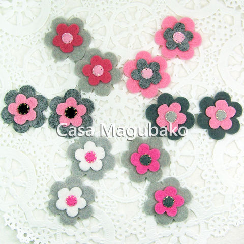 Felt,Flower,Embellishments,-,Wool,Rayon,Set,of,12,Pieces,Mini-Flowers,Glittered,Flowers,Hand,Stitched,felt flowers, flower embellishments, hand-stitched flowers, supplies, handmade, glittered flowers, hairclip flowers, wool rayon felt