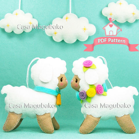 PDF,Sewing,Pattern:,Felt,Lamb,and,Cloud,Ornaments,-,A,Handsewing,Project,felt pattern, felt lamb, sheep, felt cloud, sewing, stitching, felt ornaments, DIY felt, sewing pattern, softie pattern