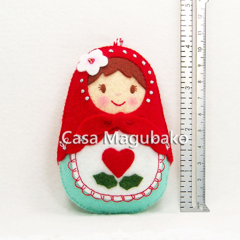 Handmade Matryoshka Doll Ornament - Felt Russian Doll Ornament - Wool/Rayon Felt - Hand Stitched  - product images  of