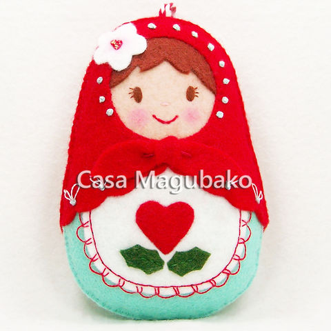 Handmade,Matryoshka,Doll,Ornament,-,Felt,Russian,Wool/Rayon,Hand,Stitched,felt doll, Russian doll, doll ornament, doll embellishment, felt embellishment, red aqua doll, home decor, hand sewn, hand stitched, embroidered doll, Matryoshka doll, ornament, Babushka