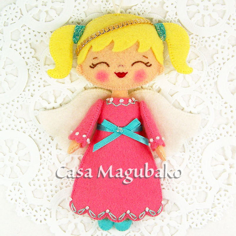 Girl Angel Handmade Ornament - Felt Angel Doll - Christmas Tree Decoration - Christmas Ornament - Wool Rayon Felt Ornament - product images  of