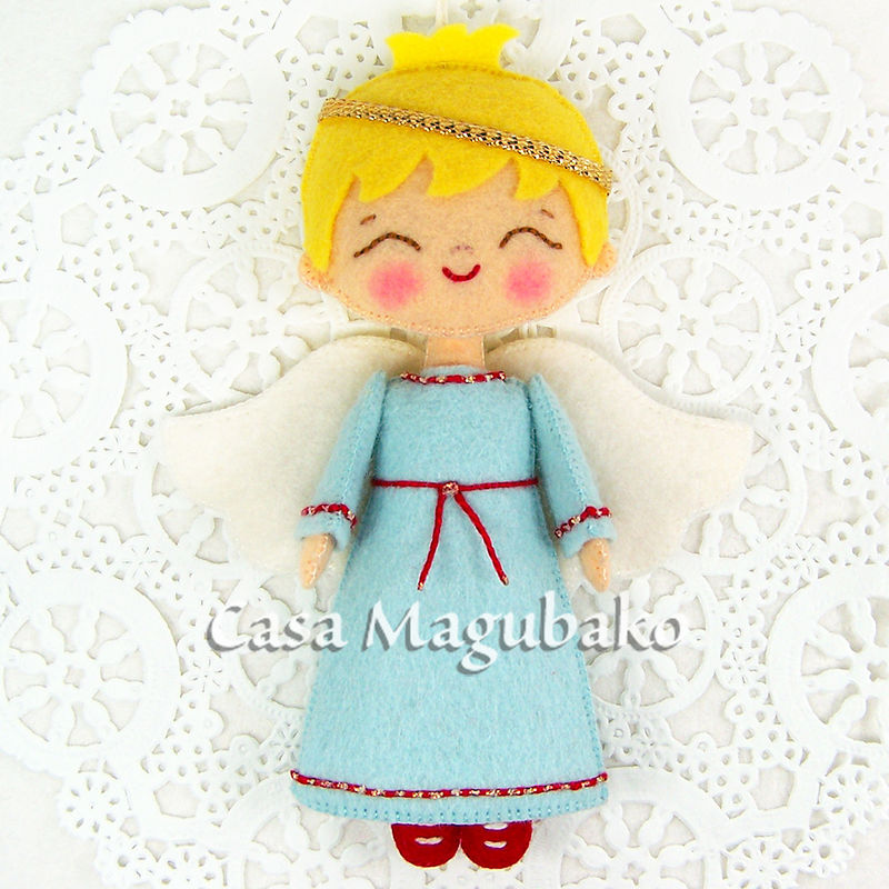 Felt Boy Angel Ornament - Handmade Angel - Christmas Ornament - Tree Decoration - Wool Rayon Felt Angel - product images  of