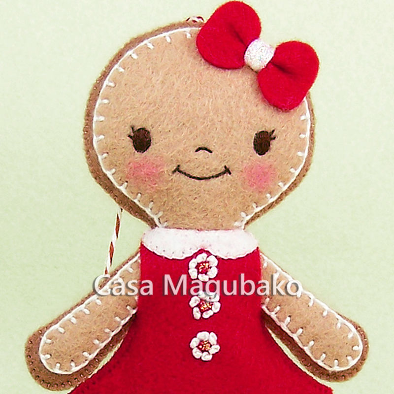 Girl Gingerbread Ornament, Christmas Tree Decor, Handmade Ornament, Winter Decoration, Wool Rayon Felt - product images  of