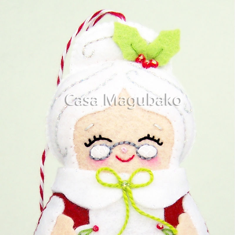 Mrs. Claus Felt Ornament - Christmas Tree Decor - Mrs Claus Handmade Christmas Ornament - Wool/Rayon Felt  - product images  of