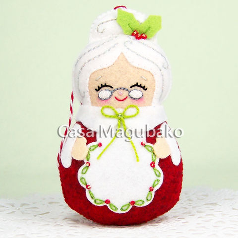 Mrs.,Claus,Felt,Ornament,-,Christmas,Tree,Decor,Mrs,Handmade,Wool/Rayon,Mrs Claus, felt doll, ornament, felt ornament, Christmas ornament, Christmas, Christmas decoration, wool rayon felt, tree ornament, doll, handmade