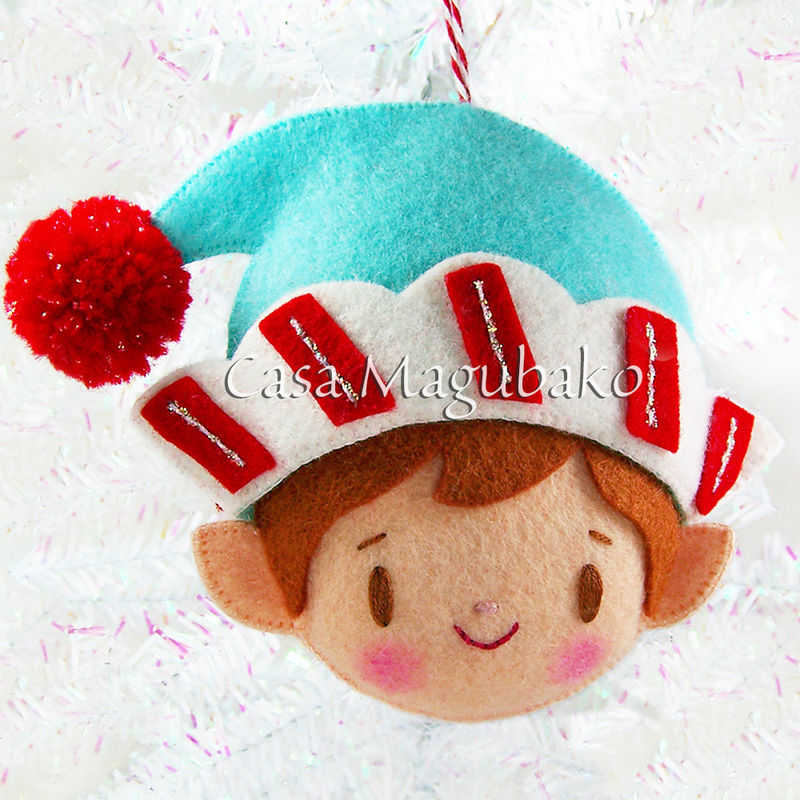 PDF Sewing Pattern: Felt Christmas Elf Ornaments, Hand-sewing Tutorial, Girl Elf, Boy Elf, DIY Ornaments - product images  of