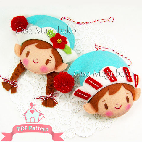 PDF,Sewing,Pattern:,Felt,Christmas,Elf,Ornaments,,Hand-sewing,Tutorial,,Girl,Elf,,Boy,DIY,Ornaments,felt pattern, felt elves, girl elf, boy elf, elves, sewing, stitching, pattern, tutorial, felt ornaments, DIY, elf ornaments, Christmas decor