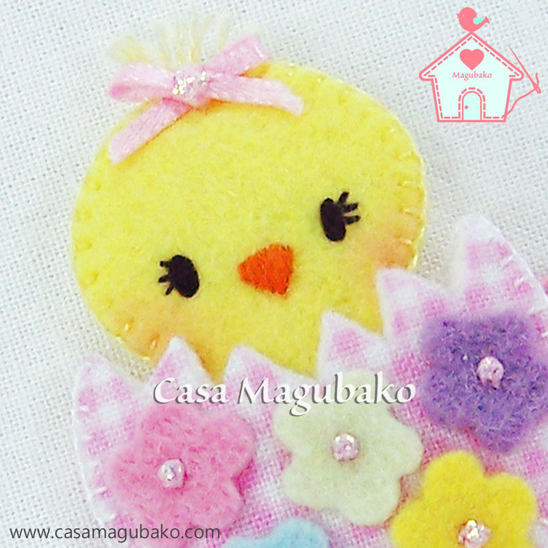 Felt Easter Chicken Hair Clip - Wool/Rayon Felt and Cotton Fabric - product images  of