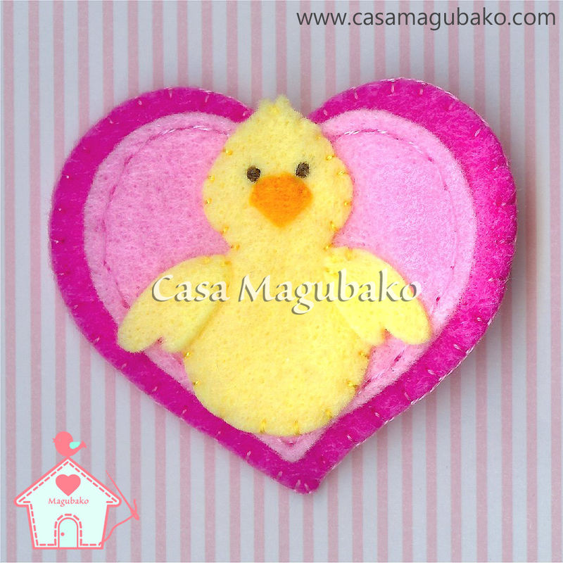 Handmade Felt Easter Chicken on Heart Hair Clip - product images  of
