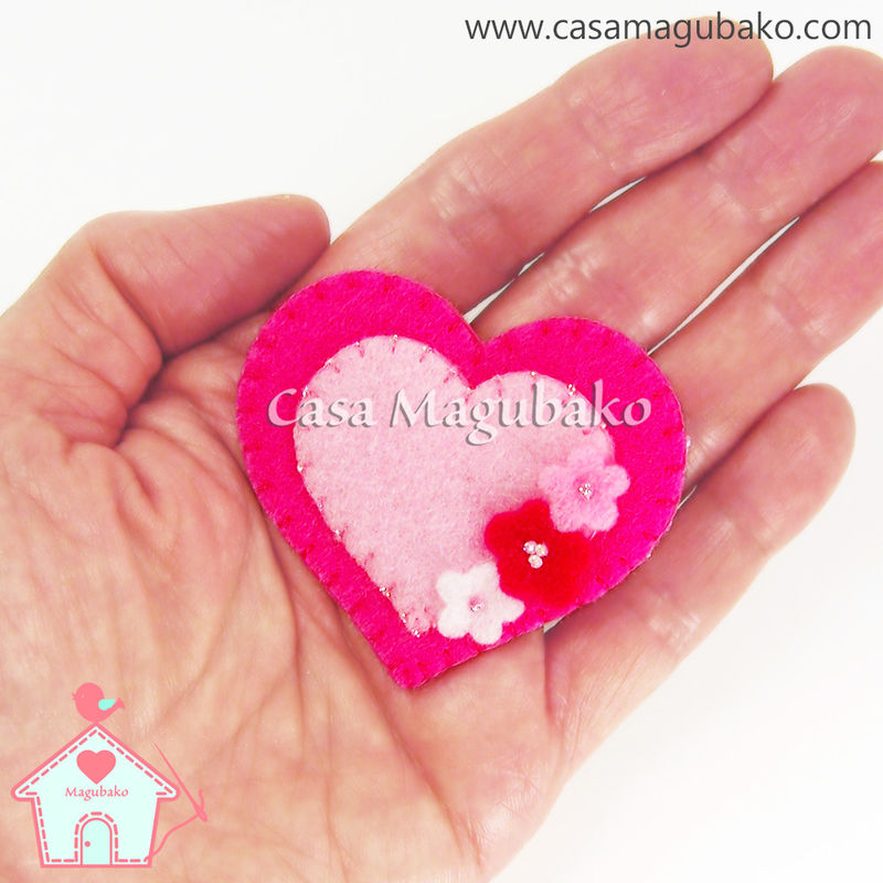 Hair Clip - Felt Heart with Flowers  - product images  of