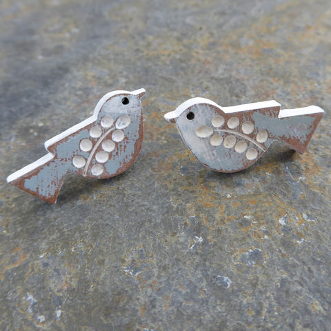 songbird,earrings,(duck,egg),Farrow & Ball, Farrow & Ball Paint, Earrings, Bird Earrings, Bird Studs, Laser Cut Earrings, Bird Jewellery, Laser Cut Jewellery, Laser Cut Wood, Cherry Wood, Bird Jewelry, Gifts For Bird Lovers, Shark Alley, Shark Alley Jewellery,