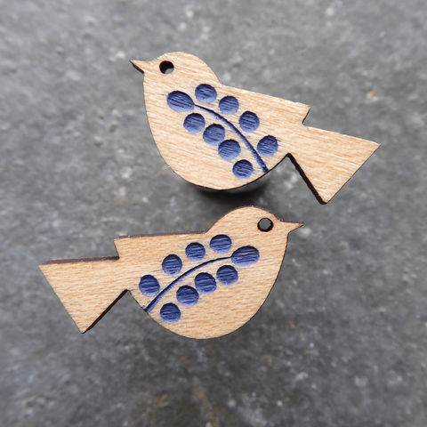 songbird,earrings,(maple,denim),Farrow & Ball, Farrow & Ball Paint, Earrings, Bird Earrings, Bird Studs, Laser Cut Earrings, Bird Jewellery, Laser Cut Jewellery, Laser Cut Wood, Cherry Wood, Bird Jewelry, Gifts For Bird Lovers, Shark Alley, Shark Alley Jewellery,