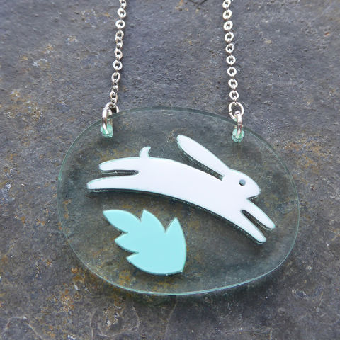 Hare,And,Leaf,Pendant,Acrylic Pendant, Hare Necklace, Acrylic Jewellery, Hare Pendant, Laser Cut Necklace, Laser Cut Jewellery, Hare Jewellery, Animal Jewellery, Gifts For Animal Lovers, Shark Alley, Shark Alley Jewellery, Hare, Eveningwear