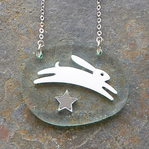 Starlight,Hare,Pendant,Star, White Hare, Acrylic Pendant, Hare Necklace, Acrylic Jewellery, Hare Pendant, Laser Cut Necklace, Laser Cut Jewellery, Hare Jewellery, Animal Jewellery, Gifts For Animal Lovers, Shark Alley, Shark Alley Jewellery, Hare, Evening Wear