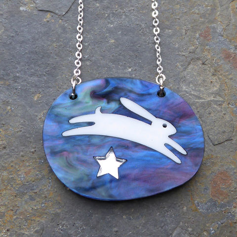 Midnight,Hare,And,Star,Pendant,Acrylic Pendant, Hare Necklace, Acrylic Jewellery, Hare Pendant, Laser Cut Necklace, Laser Cut Jewellery, Hare Jewellery, Animal Jewellery, Gifts For Animal Lovers, Shark Alley, Stars, Shark Alley Jewellery, Hare, Eveningwear