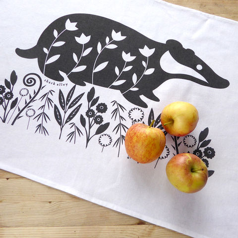 Badger,Tea,Towel,Badger Tea Towel, Animal Print, Badger Print, Tea Towel, Animal Tea Towel, Screen Printed Tea Towel, Illustrated Tea Towel, Shark Alley Tea Towel, Home Decor, Badger Lovers, Animal Gifts, Country Tea Towel, Country Style