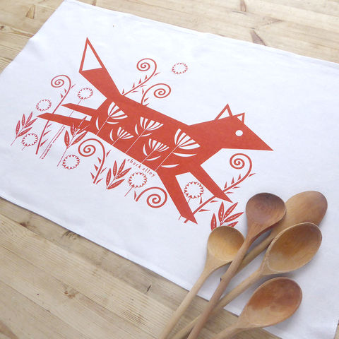 Fox,Tea,Towel, Fox Tea Towel, Animal Print, Fox Print, Tea Towel, Animal Tea Towel, Screen Printed Tea Towel, Illustrated Tea Towel, Shark Alley Tea Towel, Home Decor, Fox Lovers, Animal Gifts, Country Tea Towel, Country Style
