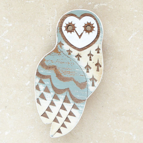 duck,egg,owl,brooch,Owl, Owl Brooch, Bird Jewellery, Laser Cut Jewellery, Laser Cut Wood, Cherry Wood, Bird Brooch, Bird Jewelry, Farrow & Ball Paint, Gifts For Bird Lovers, Shark Alley, Shark Alley Jewellery, Distressed Wood