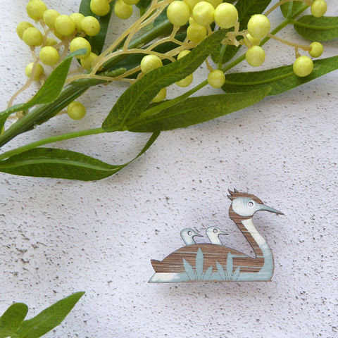 great,crested,grebe,brooch,(duck,egg),Rustic Jewellery, Natural Jewellery, Wooden Jewellery, Great Crested Grebe Brooch, Great Crested Grebe, Duck Brooch, Bird Brooch, Hand Painted Bird Brooch, Shark Alley Bird Brooch, Inspired By Nature, Shark Alley Jewellery, Laser Cut Wood, Laser Cut Brooc