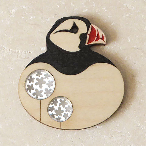 Hand,Painted,Maple,Puffin,Brooch,Hand Painted, Wooden Brooch, Puffin Brooch, Hand Painted Jewellery, Bird Brooch, Laser Cut Brooch, Laser Cut Jewellery, Bird Jewellery, Puffin Jewellery, Gifts For Bird Lovers, Shark Alley, Shark Alley Jewellery, Puffin, Black And Silver, Pop Jewellery