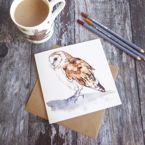Barn,Owl,Greetings,Card,Owl Card, Barn Owl Greetings Card, Barn Owl Illustration, Quink And Bleach, Ink Drawing, Barn Owl, British Wildlife Greetings Cards, Animal Cards, Shark Alley Greetings Cards, Ink Painting, Animal Stationery