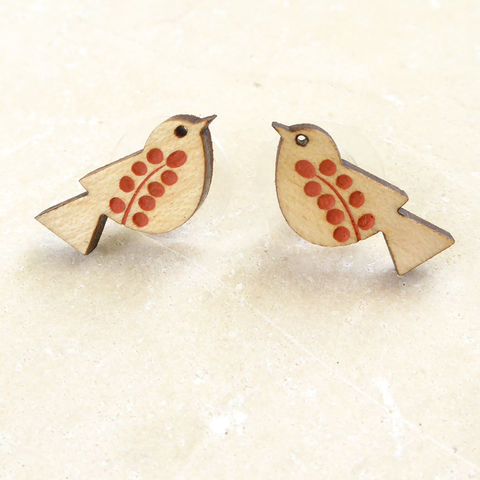 songbird,earrings,(maple,orange),Farrow & Ball, Farrow & Ball Paint, Earrings, Bird Earrings, Bird Studs, Laser Cut Earrings, Bird Jewellery, Laser Cut Jewellery, Laser Cut Wood, Cherry Wood, Bird Jewelry, Gifts For Bird Lovers, Shark Alley, Shark Alley Jewellery,