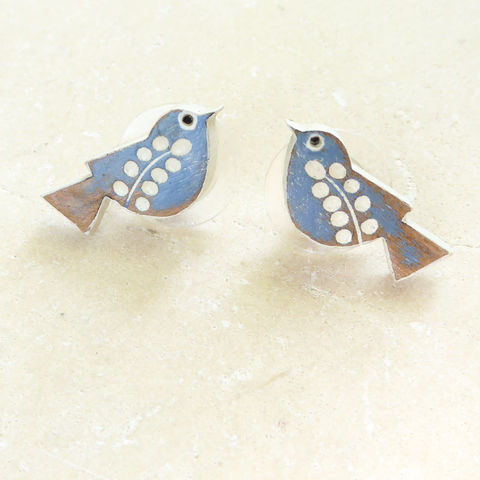 songbird,earrings,(cornflower),Farrow & Ball, Farrow & Ball Paint, Earrings, Bird Earrings, Bird Studs, Laser Cut Earrings, Bird Jewellery, Laser Cut Jewellery, Laser Cut Wood, Cherry Wood, Bird Jewelry, Gifts For Bird Lovers, Shark Alley, Shark Alley Jewellery,