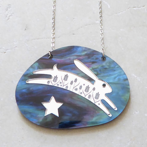 Cosmos,Hare,And,Star,Pendant,Acrylic Pendant, Hare Necklace, Acrylic Jewellery, Hare Pendant, Laser Cut Necklace, Laser Cut Jewellery, Hare Jewellery, Statement Necklace, Hare And Stars, Animal Jewellery, Gifts For Animal Lovers, Shark Alley, Shark Alley Jewellery, Hare, Star, Midnig