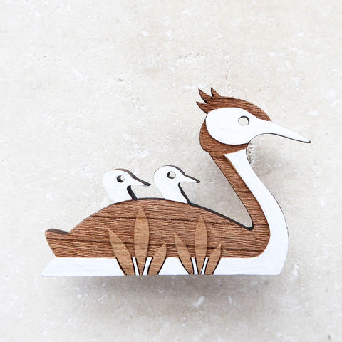 great,crested,grebe,brooch,Great Crested Grebe Brooch, Great Crested Grebe, Duck Brooch, Bird Brooch, Hand Painted Bird Brooch, Shark Alley Bird Brooch, Inspired By Nature, Shark Alley Jewellery, Laser Cut Wood, Laser Cut Brooch