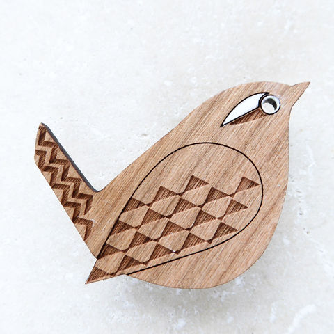 wren,brooch,Wren, Wren Brooch, Laser Cut Wren Brooch, Laser Cut Bird Brooch, Laser Cut Jewellery, British Birds, Wooden Brooch, Shark Alley Bird Brooch, Hand Painted Jewellery