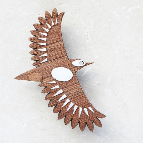woodpecker,brooch,Woodpecker Brooch, Woodpecker Jewellery, Greater Spotted Woodpecker Brooch, British Birds, Laser Cut Jewellery, Laser Cut Wooden Bird Brooch, Laser Cut Wood, Shark Alley Bird Brooch,
