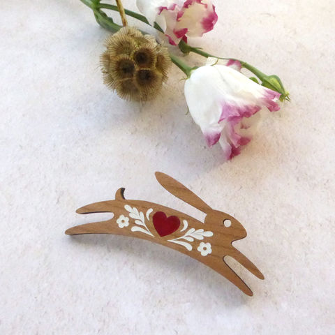 red,heart,hare,brooch,-,limited,edition,Valentines Present, Hare Brooch, Wooden Brooch, Laser Cut Wood Brooch, Laser Cut Jewellery, Hare Jewellery, Hare Jewelry, Gifts For Animal Lovers, Shark Alley, Shark Alley Jewellery, Valentine's Day Gift, Gifts For Hare Lovers, Rabbit Brooch, Red Heart