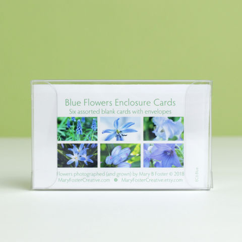 Blue,Garden,Flowers,Photo,Gift,Enclosure,Cards,,assorted,box,of,6,paper goods, stationery set, boxed gift enclosure cards assortment, blue garden flowers photography, small floral photo cards, all occasion blank greeting cards pack, botanical nature art, Mary Foster Creative