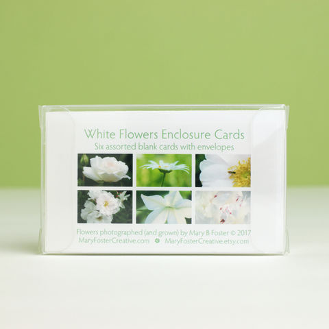 White,Flowers,Photography,Gift,Enclosure,Cards,collection,,boxed,set,of,six,paper goods, stationery set, boxed gift enclosure cards assortment, white garden flowers photography, small floral photo cards, all occasion blank greeting cards pack, botanical nature art, Mary Foster Creative