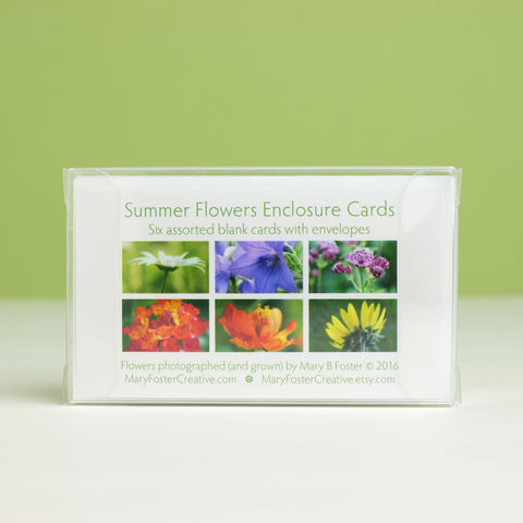 Summer,Garden,Flowers,Photo,Gift,Enclosure,Cards,,boxed,assortment,of,six,paper goods, stationery set, boxed gift enclosure cards assortment, summer garden flowers photography, small floral photo cards, all occasion blank greeting cards pack, botanical nature art, Mary Foster Creative