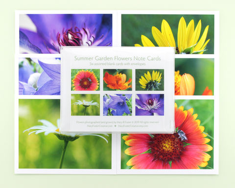 Summer,Garden,Flowers,Photography,Note,Cards,,boxed,assortment,of,six,paper goods, stationery set, boxed note cards assortment, summer garden flowers photography, floral photo notecards, blank greeting cards pack, all occasion stationary, botanical nature art, Mary Foster Creative