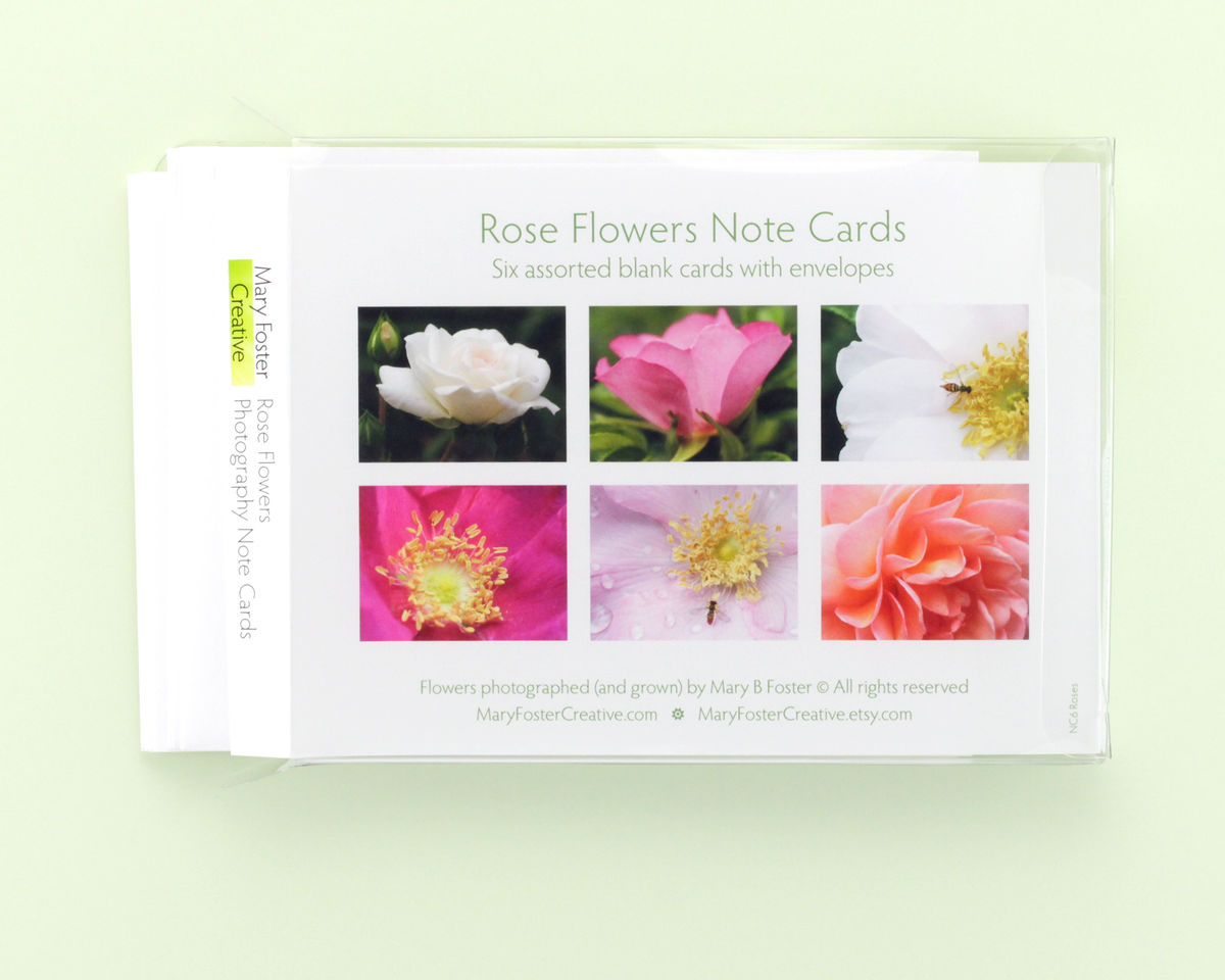 Rose Flowers Photo Note Cards assortment, boxed pack of 6 - product images  of