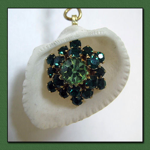 Vintage Green Faceted Earring and Shell Eye Catcher - product image