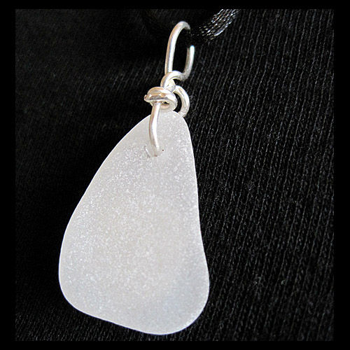 White Sea Glass and Sterling Silver Sun Face Pendant - product image