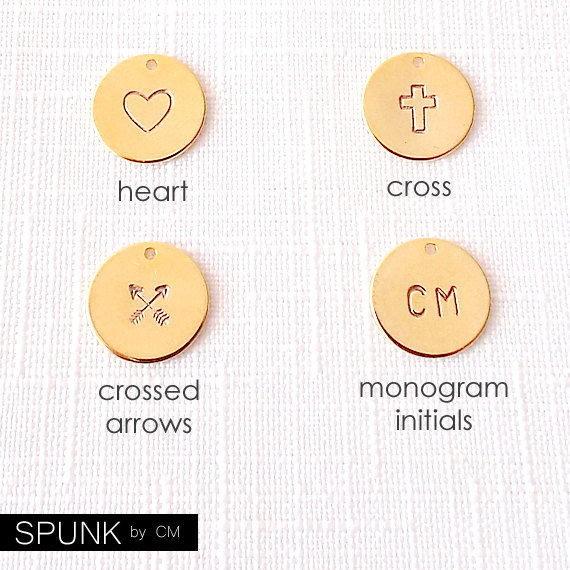 Minimalist Beaded Gold Bracelet - Personalized Monogram Initials, Heart, Cross, Crossed Arrows - The Skinny: Green Five Mini Bar - product images  of