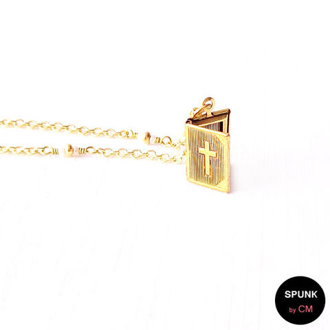 Gold,Chain,Necklace,-,Czech,Glass,Beads,,Brass,The,Basics:,Cross,Bible,Locket,jewelry, necklace, gold-chain-necklace, gold-book-necklace, locket-necklace, minimalist-necklace, religious-jewelry, cross-bible-locket, gold-cross-necklace, charm-necklace, spunkbycm-etsy, toronto-jewelry