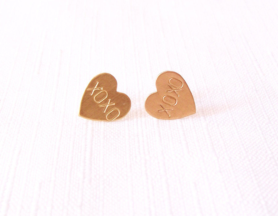 Sterling Silver Brass Post Stud Earrings - Gold - Handstamped Hearts - The Basics: XOXO - product images  of