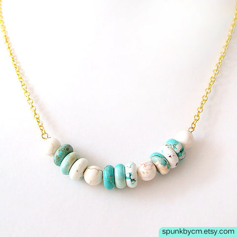 Gold,Chain,Gemstone,Necklace,-,Magnesite,Turquoise,,White,,The,Bohemian:,Heishi,Round,jewelry, necklace, gold-chain-necklace, turquoise-gold-white, toronto-jewelry, gemstone-necklace, spunkbycm-etsy, minimalist-jewelry, magnesite-necklace, turquoise-magnesite