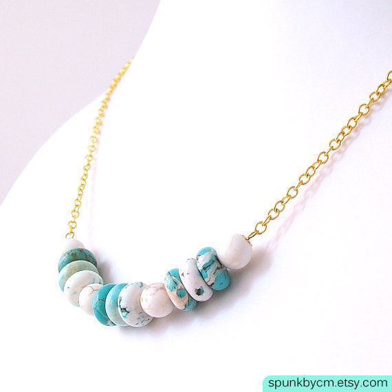 Gold Chain Gemstone Necklace - Magnesite - Turquoise, White, Gold - The Bohemian: Heishi Round - product images  of