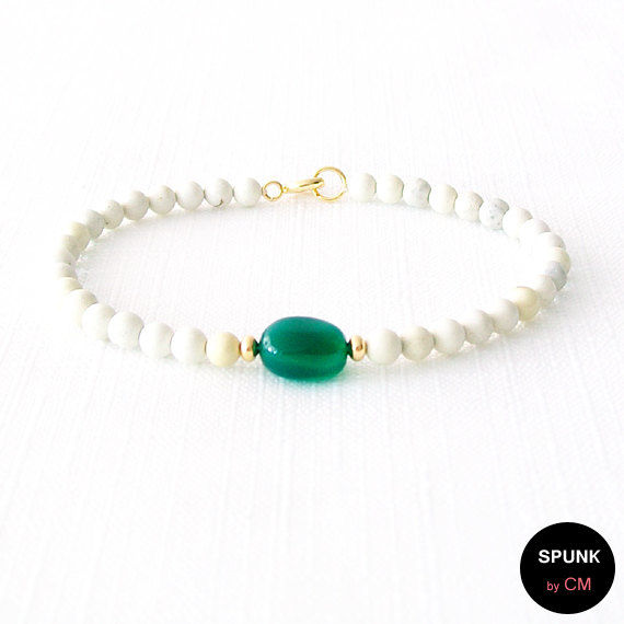 Gold Gemstone Bracelet - Onyx, Chrysoprase, Brass - Green, Yellow White - The Stoned: Pebble 4mm Round - product images  of
