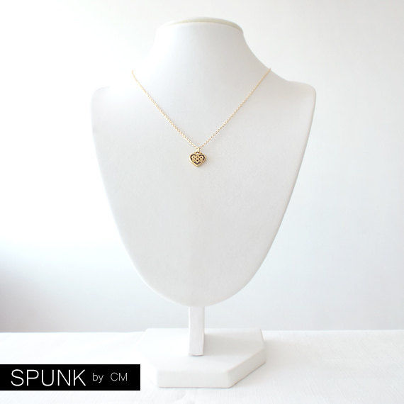Minimalist Gold Chain Necklace - The Basics: Celtic Heart Knot - product images  of
