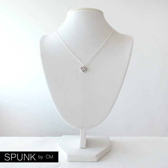 Minimalist Silver Chain Necklace - The Basics: Celtic Heart Knot - product images  of